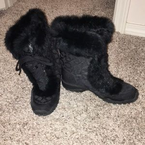 Black fur Coach boots